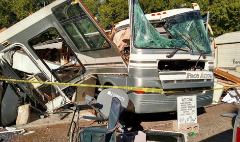 Propane leak blows up motorhome. See pics. Horrible!