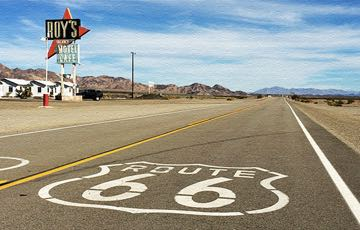 Route 66 in Amboy, Calif. There's a free overnight parking area to the right of where I was standing. I snapped this photo about a year ago.