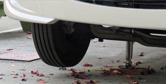 Use your RV levelers to lift a tire off the ground?