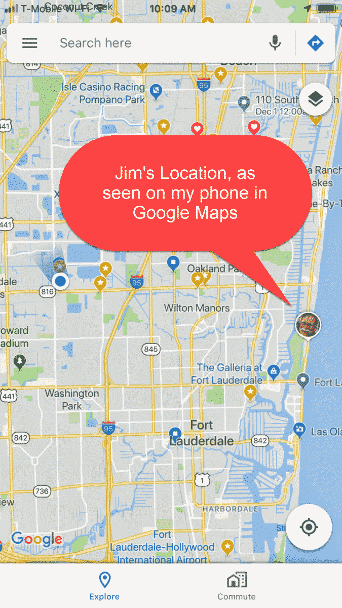 Sharing your location using Google Maps