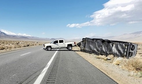 Trailer overturns on California highway due to high winds