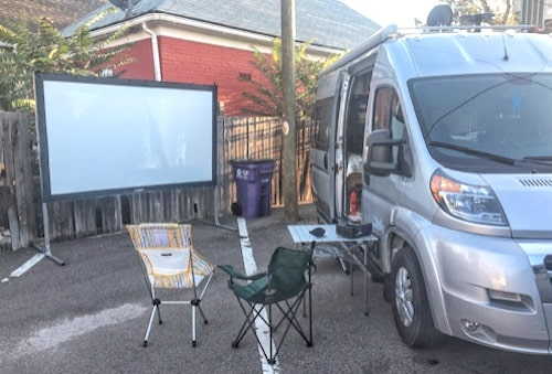 Ah, camping! Your own outdoor movie theater!