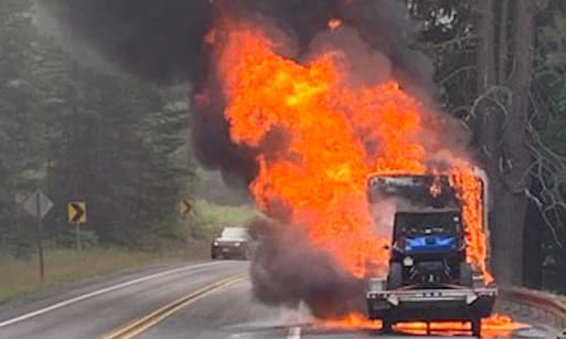 Motorhome erupts in flames. Ammunition starts popping!
