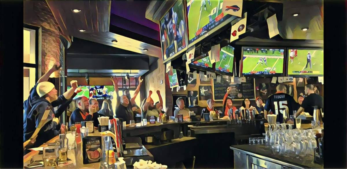 watching TV at a sports bar, listen with Tunity