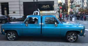 Two 1970s Chevrolet Silverado pickup trucks made into one.