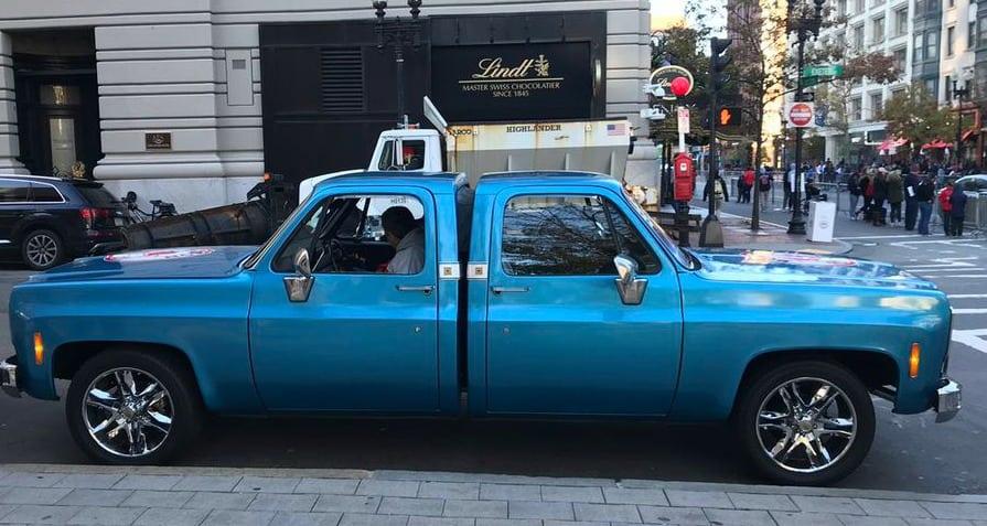 Two 1970s Chevrolet Silverado pickup trucks made into one.
