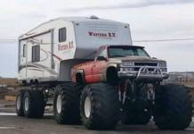 A DIY project combines truck, RV and eight big wheels.