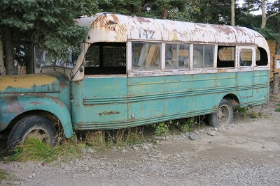 The replica of the 1946 school bus used in the movie Into The Wild.