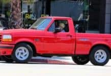 Laga Gaga driving her 1993 Ford pickup truck (special edition).