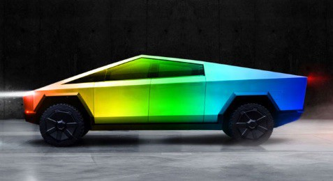Elon Musk has suggested the pending new Tesla Cybertruck could be wrapped in rainbow colors.