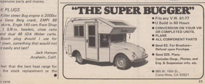 An advertising poster for the VW Super Bugger conversion camper.