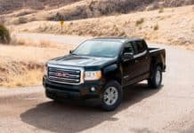 The 2020 GMC Canyon 4-door extended cab is the least expensive truck to insure.