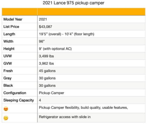 Lance 975 Specifications