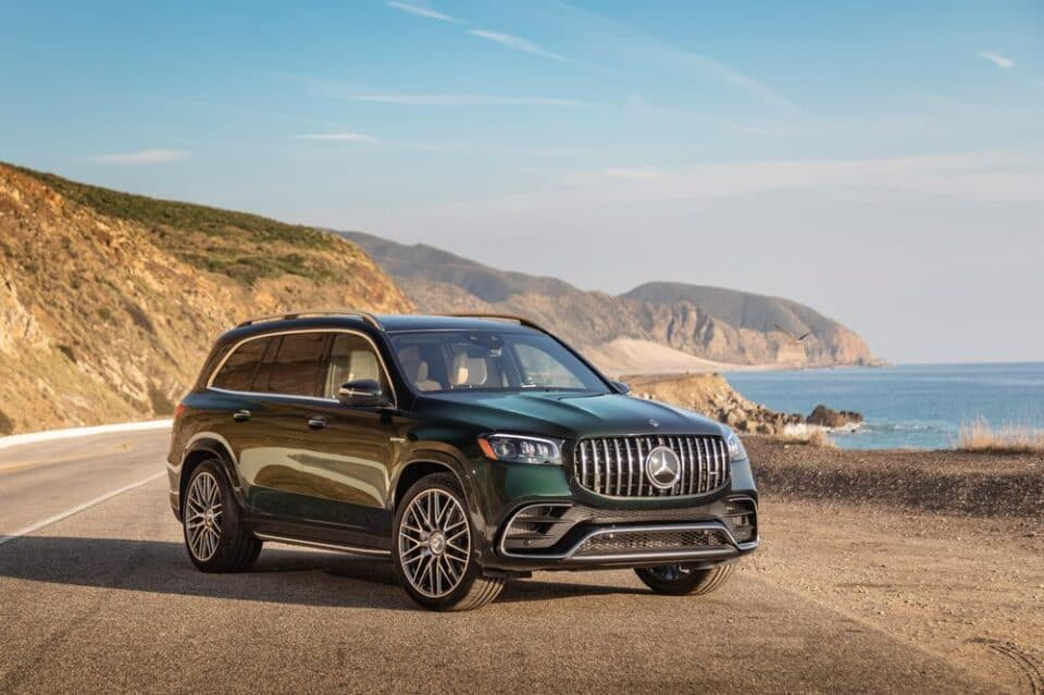 The 2021 Mercedes-AMG GLS63 has a 7,500 pound towing capacity.