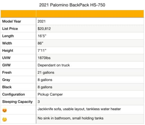 2021 Palomino BackPack HS-750 specifications
