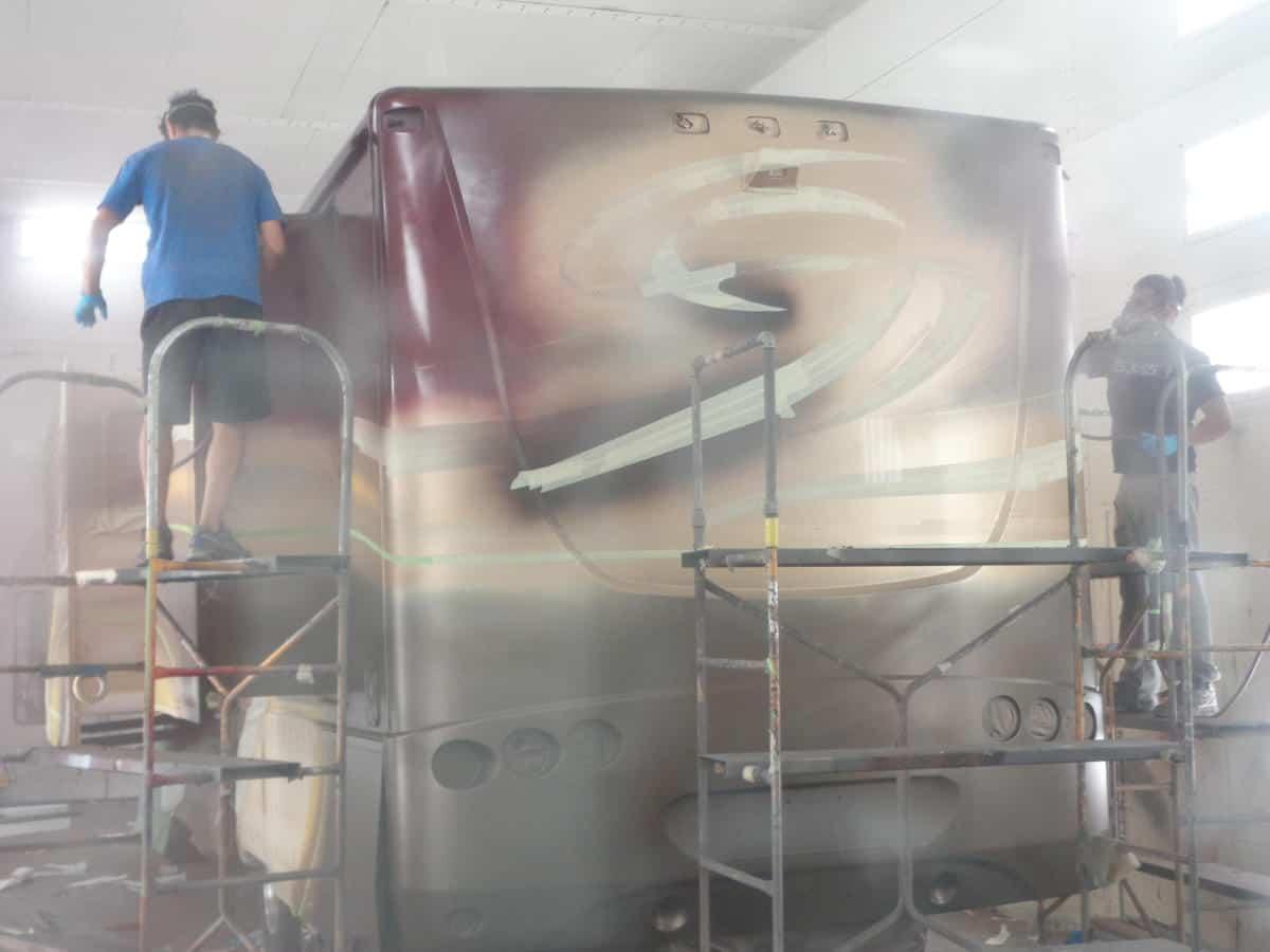 Rear view painters in progress