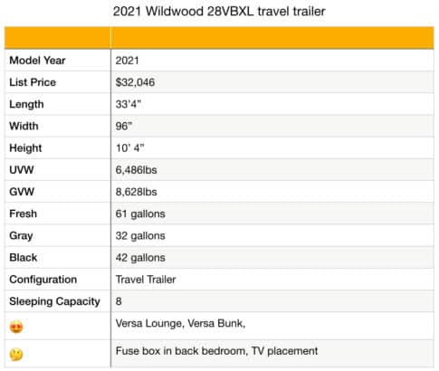Forest River Wildwood X-Lite 28VBXL specifications