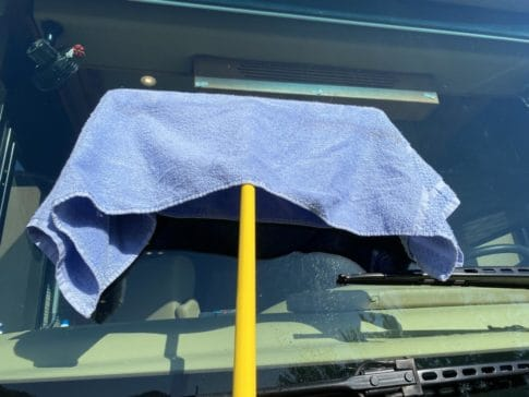 Squeegee with drying towel