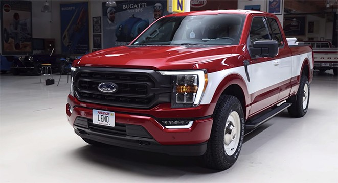 Jay Leno's 2021 Ford F-150 pickup truck customized to honor the 1979 Ford F-150 owned by Sam Walton, founder of Walmart.