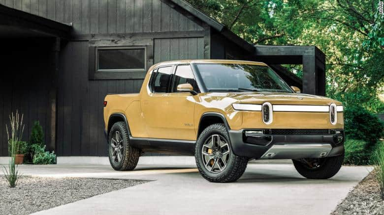 The electric Rivian pickup truck will debut in the summer of 2021.
