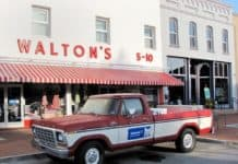 Sam Walton's 1979 Ford F-150 pickup truck in front of the orginal Walmart in Bentonville, Arkansas.