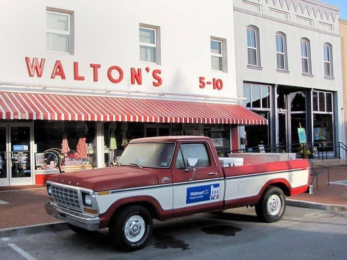 Sam Walton's 1979 Ford F-150 pickup truck in front of the orginal Walmart in Bentonville, Arkansas.