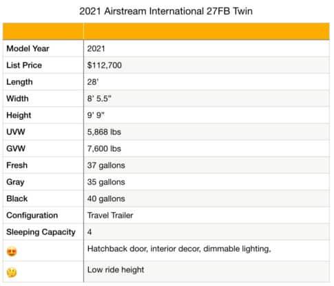 Airstream International 27FB specifications