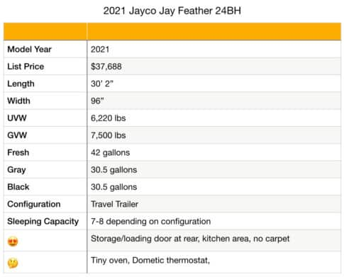 Jayco Jay Feather 24BH specifications