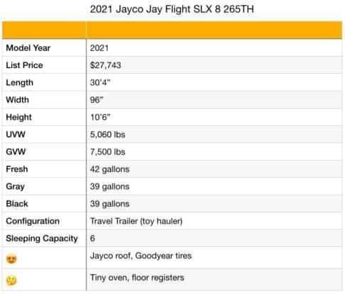 Jayco Jay Flight 265BH specifications