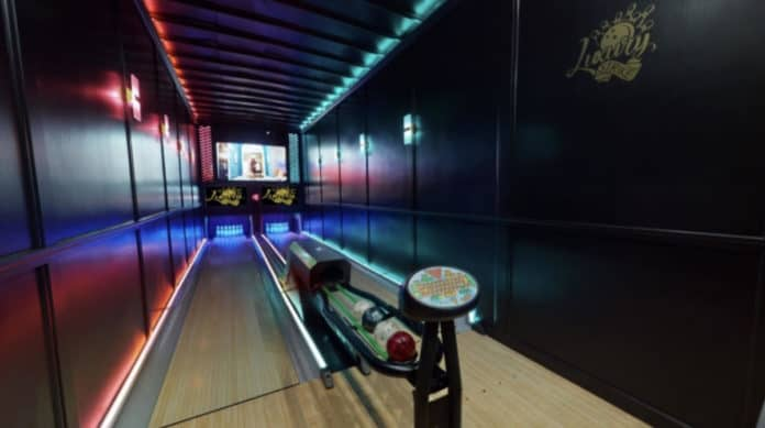 The two lanes available in mobile bowling alley business in Michigan.
