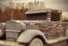 Chris Miller's latest stone car art, a 1929 Ford Model A.