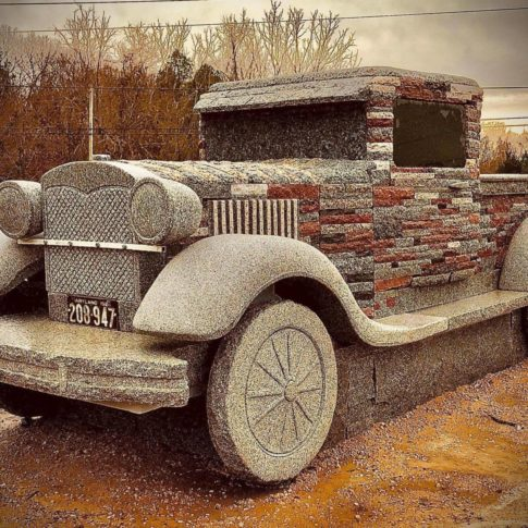 Chris Miller's latest stone auto art, a 1929 Ford Model A.