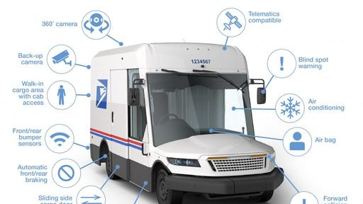 The new mail truck for the USPS will technoligially addvace and a omprehensive list of safety features.