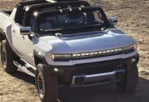 The 2022 GMC Hummer EV can be configured as a near convertible.