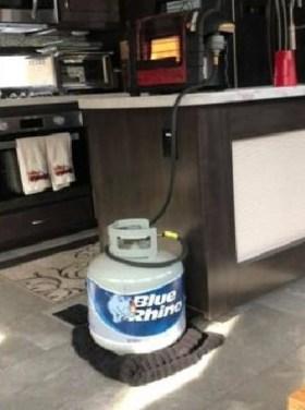 Propane tank indoors