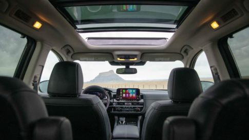 The spacious interior of the 2022 Nissan Pathfinder.