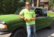 Sean Lamothe covered his Mazda pickup truck in artifical turf.