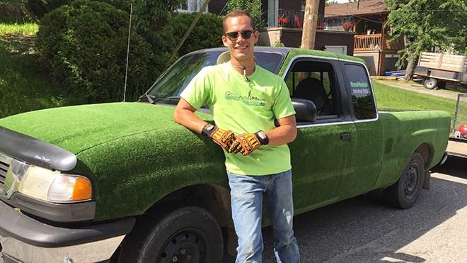 Sean Lamothe covered his Mazda pickup truck in artifical turf.